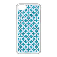 Circles3 White Marble & Turquoise Glitter Apple Iphone 7 Seamless Case (white) by trendistuff