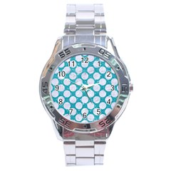 Circles2 White Marble & Turquoise Glitter Stainless Steel Analogue Watch by trendistuff