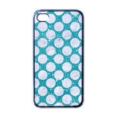 Circles2 White Marble & Turquoise Glitter Apple Iphone 4 Case (black) by trendistuff