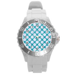 Circles2 White Marble & Turquoise Glitter Round Plastic Sport Watch (l) by trendistuff