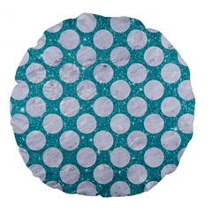 Circles2 White Marble & Turquoise Glitter Large 18  Premium Round Cushions by trendistuff