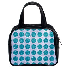 Circles1 White Marble & Turquoise Glitter (r)uoise Glitter (r) Classic Handbags (2 Sides) by trendistuff