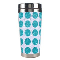 Circles1 White Marble & Turquoise Glitter (r)uoise Glitter (r) Stainless Steel Travel Tumblers by trendistuff