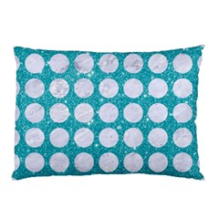 Circles1 White Marble & Turquoise Glitter Pillow Case by trendistuff
