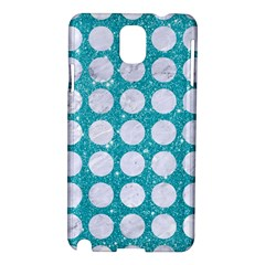 Circles1 White Marble & Turquoise Glitter Samsung Galaxy Note 3 N9005 Hardshell Case by trendistuff