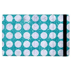 Circles1 White Marble & Turquoise Glitter Apple Ipad Pro 9 7   Flip Case by trendistuff