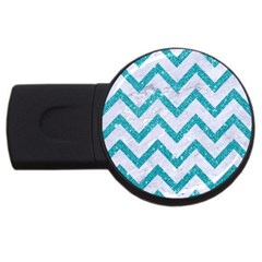 Chevron9 White Marble & Turquoise Glitter (r) Usb Flash Drive Round (2 Gb) by trendistuff