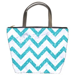 Chevron9 White Marble & Turquoise Glitter (r) Bucket Bags by trendistuff