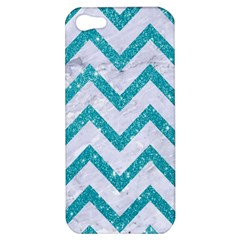Chevron9 White Marble & Turquoise Glitter (r) Apple Iphone 5 Hardshell Case by trendistuff