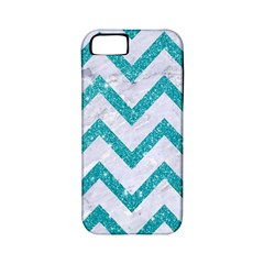 Chevron9 White Marble & Turquoise Glitter (r) Apple Iphone 5 Classic Hardshell Case (pc+silicone) by trendistuff
