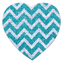 Chevron9 White Marble & Turquoise Glittere Glitter Jigsaw Puzzle (heart) by trendistuff