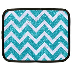 Chevron9 White Marble & Turquoise Glittere Glitter Netbook Case (large) by trendistuff