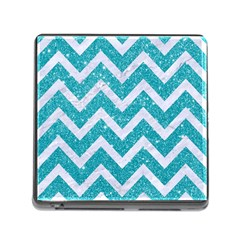 Chevron9 White Marble & Turquoise Glittere Glitter Memory Card Reader (square) by trendistuff