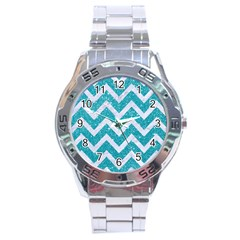 Chevron9 White Marble & Turquoise Glittere Glitter Stainless Steel Analogue Watch by trendistuff