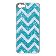 Chevron9 White Marble & Turquoise Glittere Glitter Apple Iphone 5 Case (silver) by trendistuff