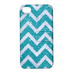 Chevron9 White Marble & Turquoise Glittere Glitter Apple Iphone 4/4s Hardshell Case With Stand by trendistuff