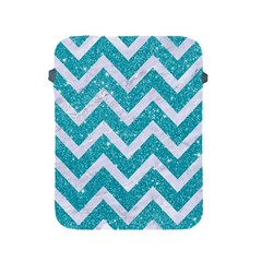 Chevron9 White Marble & Turquoise Glittere Glitter Apple Ipad 2/3/4 Protective Soft Cases by trendistuff
