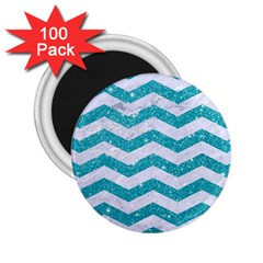 Chevron3 White Marble & Turquoise Glitter 2 25  Magnets (100 Pack)  by trendistuff