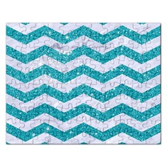 Chevron3 White Marble & Turquoise Glitter Rectangular Jigsaw Puzzl by trendistuff