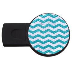 Chevron3 White Marble & Turquoise Glitter Usb Flash Drive Round (4 Gb) by trendistuff
