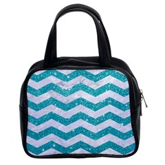 Chevron3 White Marble & Turquoise Glitter Classic Handbags (2 Sides) by trendistuff