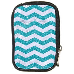 Chevron3 White Marble & Turquoise Glitter Compact Camera Cases by trendistuff