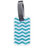 CHEVRON3 WHITE MARBLE & TURQUOISE GLITTER Luggage Tags (One Side)  Front