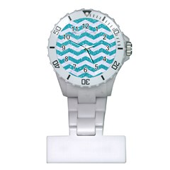 Chevron3 White Marble & Turquoise Glitter Plastic Nurses Watch by trendistuff