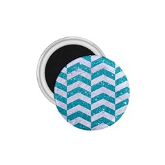 Chevron2 White Marble & Turquoise Glitter 1 75  Magnets by trendistuff