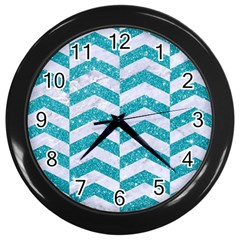 Chevron2 White Marble & Turquoise Glitter Wall Clocks (black) by trendistuff