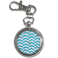 Chevron2 White Marble & Turquoise Glitter Key Chain Watches by trendistuff