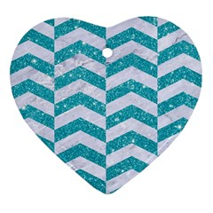 Chevron2 White Marble & Turquoise Glitter Heart Ornament (two Sides) by trendistuff