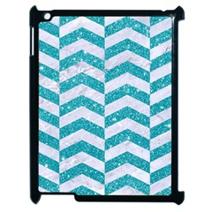 Chevron2 White Marble & Turquoise Glitter Apple Ipad 2 Case (black) by trendistuff