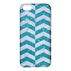 Chevron2 White Marble & Turquoise Glitter Apple Iphone 5c Hardshell Case by trendistuff