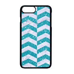 Chevron2 White Marble & Turquoise Glitter Apple Iphone 8 Plus Seamless Case (black) by trendistuff