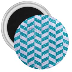Chevron1 White Marble & Turquoise Glitter 3  Magnets by trendistuff