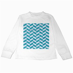 Chevron1 White Marble & Turquoise Glitter Kids Long Sleeve T Shirts by trendistuff