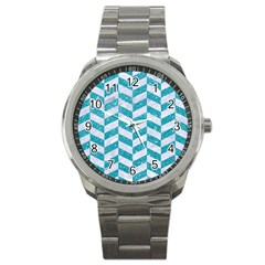 Chevron1 White Marble & Turquoise Glitter Sport Metal Watch by trendistuff