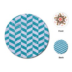 Chevron1 White Marble & Turquoise Glitter Playing Cards (round)  by trendistuff