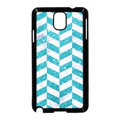 Chevron1 White Marble & Turquoise Glitter Samsung Galaxy Note 3 Neo Hardshell Case (black) by trendistuff