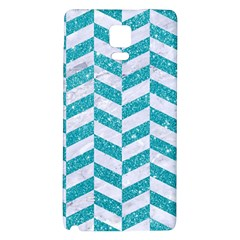 Chevron1 White Marble & Turquoise Glitter Galaxy Note 4 Back Case by trendistuff