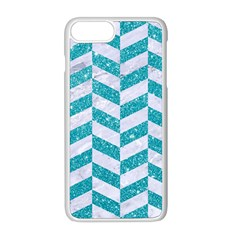 Chevron1 White Marble & Turquoise Glitter Apple Iphone 8 Plus Seamless Case (white) by trendistuff