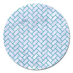 Brick2 White Marble & Turquoise Glitter (r) Magnet 5  (round) by trendistuff