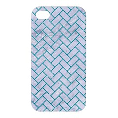 Brick2 White Marble & Turquoise Glitter (r) Apple Iphone 4/4s Hardshell Case by trendistuff