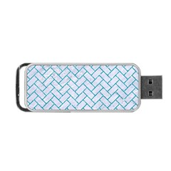 Brick2 White Marble & Turquoise Glitter (r) Portable Usb Flash (two Sides)