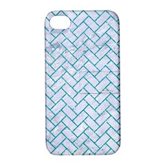 Brick2 White Marble & Turquoise Glitter (r) Apple Iphone 4/4s Hardshell Case With Stand by trendistuff