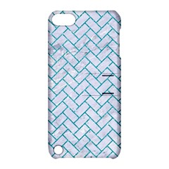 Brick2 White Marble & Turquoise Glitter (r) Apple Ipod Touch 5 Hardshell Case With Stand by trendistuff
