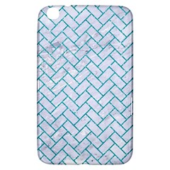 Brick2 White Marble & Turquoise Glitter (r) Samsung Galaxy Tab 3 (8 ) T3100 Hardshell Case  by trendistuff