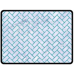 Brick2 White Marble & Turquoise Glitter (r) Double Sided Fleece Blanket (large)  by trendistuff