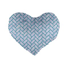 Brick2 White Marble & Turquoise Glitter (r) Standard 16  Premium Flano Heart Shape Cushions by trendistuff